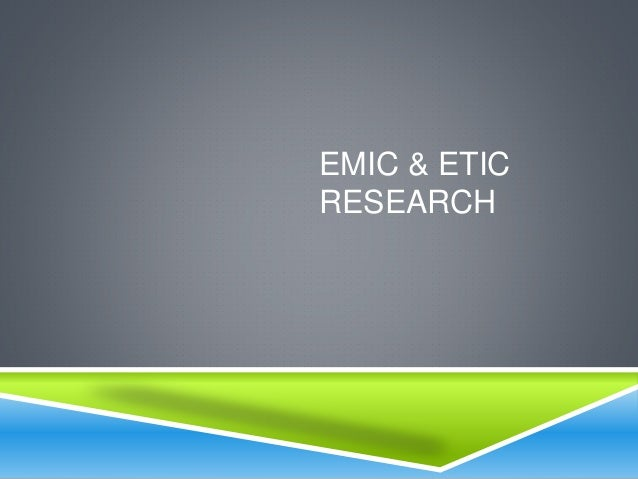 """etic essay Here, as in other passages from the same essay, bloch used the word """"classes""""   distinction between emic and etic levels historians, on the contrary, have."""