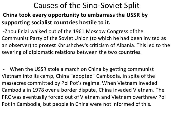 the sino-soviet split essay Sino soviet split essay sino-soviet split thesis: the reasons for the sino soviet split can be placed upon the political, economic and social difference between the nations especially the ideological differences.