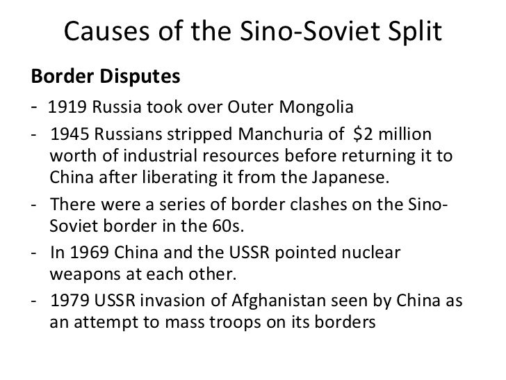 the sino soviet split A decade after the soviet union and the people's republic of china established their formidable alliance in 1950, escalating public disagreements between them broke the international.