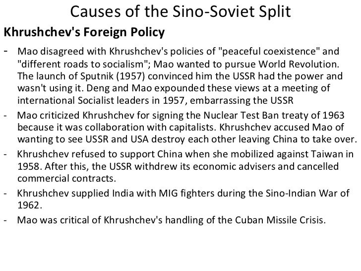 the sino soviet split Sino-soviet cooperation the soviet leader, stalin, wanted to help spread communism, especially in china during the chinese civil war, the soviets gave weapons and.