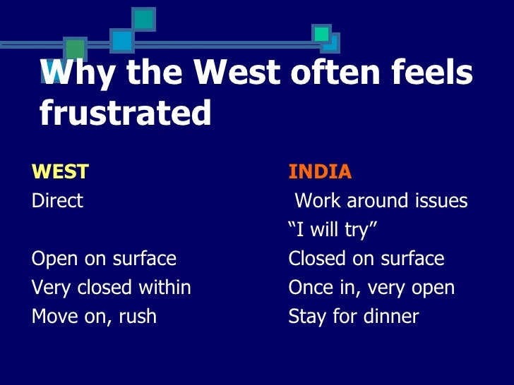 """Why the West often feelsfrustratedWEST                 INDIADirect                Work around issues                     """"..."""