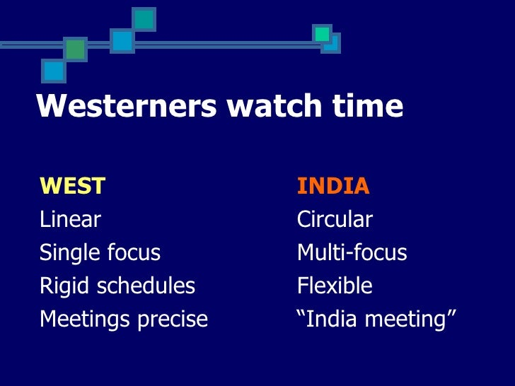 Westerners watch timeWEST               INDIALinear             CircularSingle focus       Multi-focusRigid schedules    F...