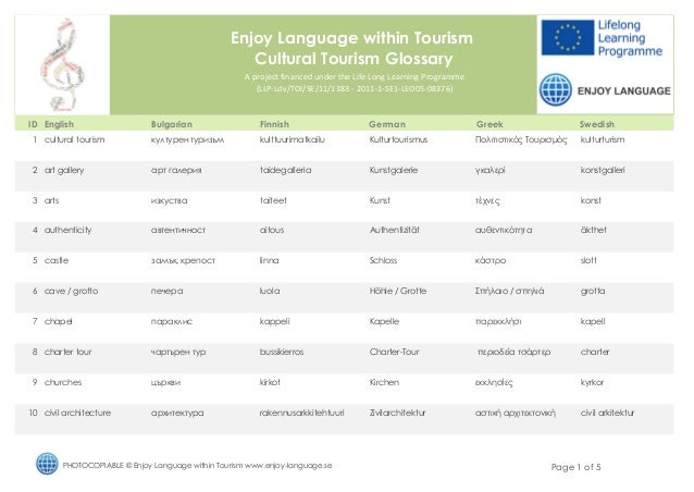 Enjoy Language within Tourism                                                      Cultural Tourism Glossary              ...