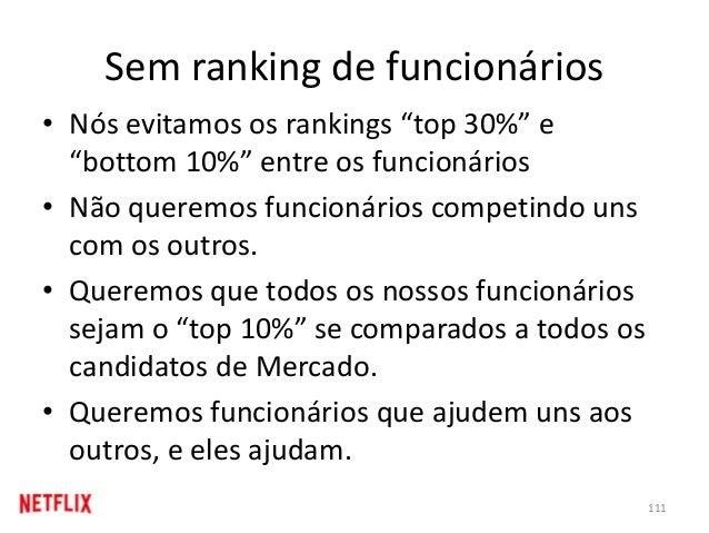 """Sem ranking de funcionários • Nós evitamos os rankings """"top 30%"""" e """"bottom 10%"""" entre os funcionários • Não queremos funci..."""