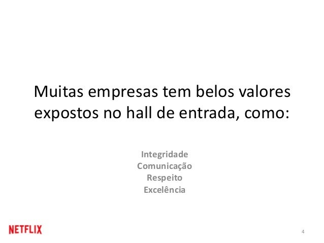Muitas empresas tem belos valores expostos no hall de entrada, como: 4 Integridade Comunicação Respeito Excelência