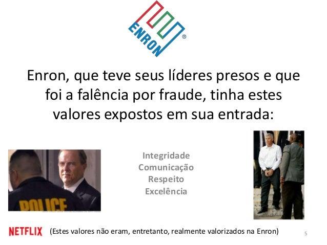 Enron, que teve seus líderes presos e que foi a falência por fraude, tinha estes valores expostos em sua entrada: Integrid...
