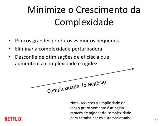 Minimize o Crescimento da Complexidade • Poucos grandes produtos vs muitos pequenos • Eliminar a complexidade perturbadora...