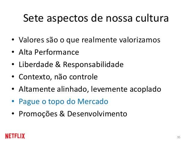 Sete aspectos de nossa cultura • Valores são o que realmente valorizamos • Alta Performance • Liberdade & Responsabilidade...