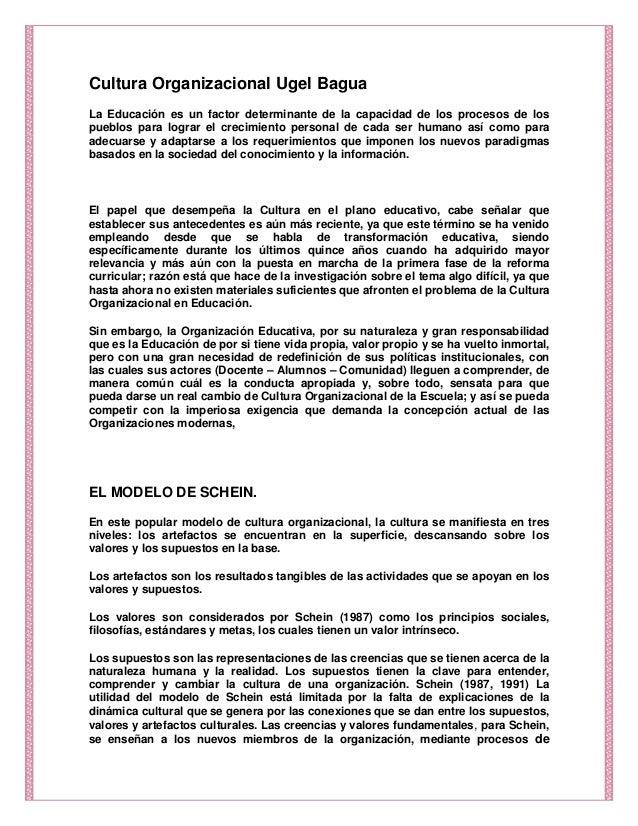 Cultura Organizacional Ugel BaguaLa Educación es un factor determinante de la capacidad de los procesos de lospueblos para...
