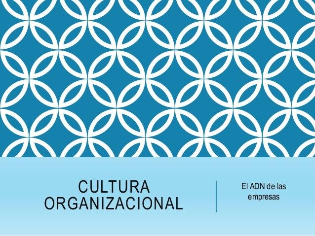 CULTURA ORGANIZACIONAL El ADN de las empresas