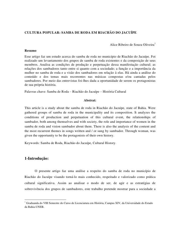 CULTURA POPULAR: SAMBA DE RODA EM RIACHÃO DO JACUÍPE                                                                    Al...