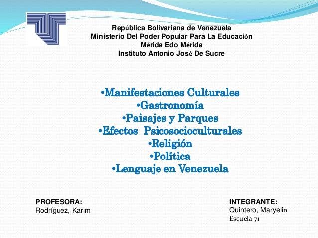 República Bolivariana de Venezuela  Ministerio Del Poder Popular Para La Educación  Mérida Edo Mérida  Instituto Antonio J...