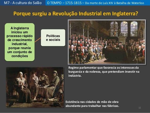 M7 - A cultura do Salão O TEMPO – 1715-1815 – Da morte de Luís XIV à Batalha de Waterloo 11 Regime parlamentar que favorec...