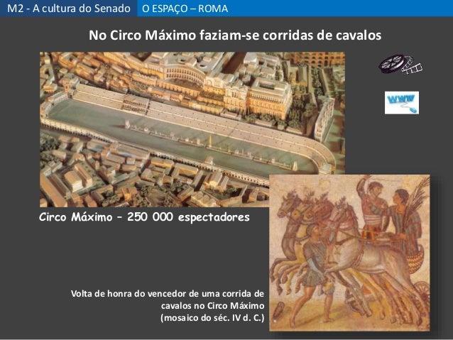 Circo Máximo – 250 000 espectadores No Circo Máximo faziam-se corridas de cavalos Volta de honra do vencedor de uma corrid...