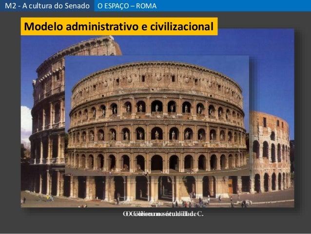 O Coliseu na atualidadeO Coliseu no século II d. C. M2 - A cultura do Senado O ESPAÇO – ROMA Modelo administrativo e civil...