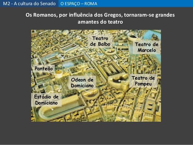 Os Romanos, por influência dos Gregos, tornaram-se grandes amantes do teatro Teatro de Pompeu Teatro de Balbo Teatro de Ma...