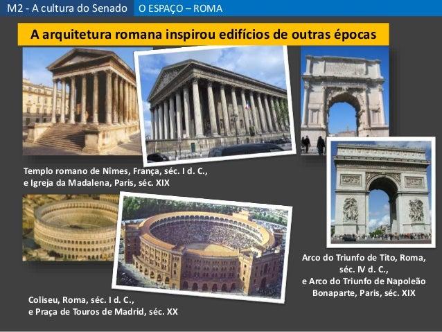 Templo romano de Nîmes, França, séc. I d. C., e Igreja da Madalena, Paris, séc. XIX Arco do Triunfo de Tito, Roma, séc. IV...