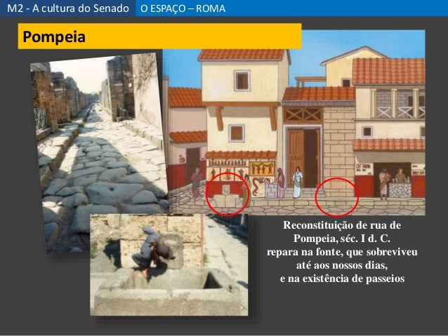 Reconstituição de rua de Pompeia, séc. I d. C. repara na fonte, que sobreviveu até aos nossos dias, e na existência de pas...