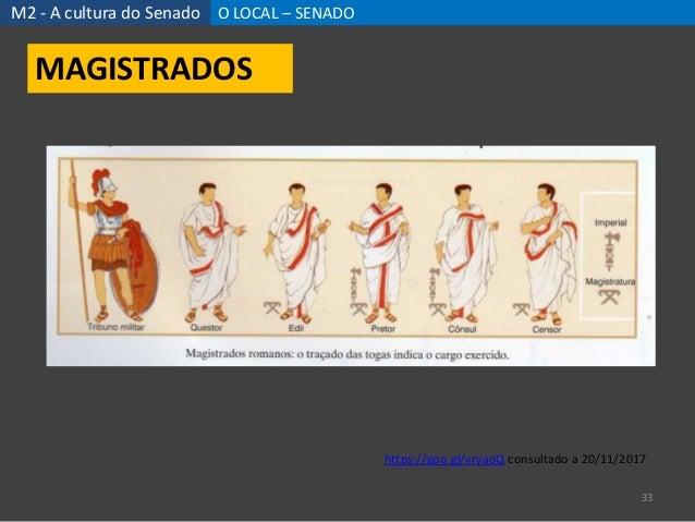 M2 - A cultura do Senado O LOCAL – SENADO 33 MAGISTRADOS https://goo.gl/vryaoQ consultado a 20/11/2017