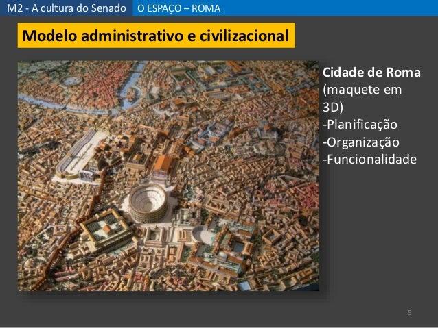 M2 - A cultura do Senado O ESPAÇO – ROMA 5 Modelo administrativo e civilizacional Cidade de Roma (maquete em 3D) -Planific...