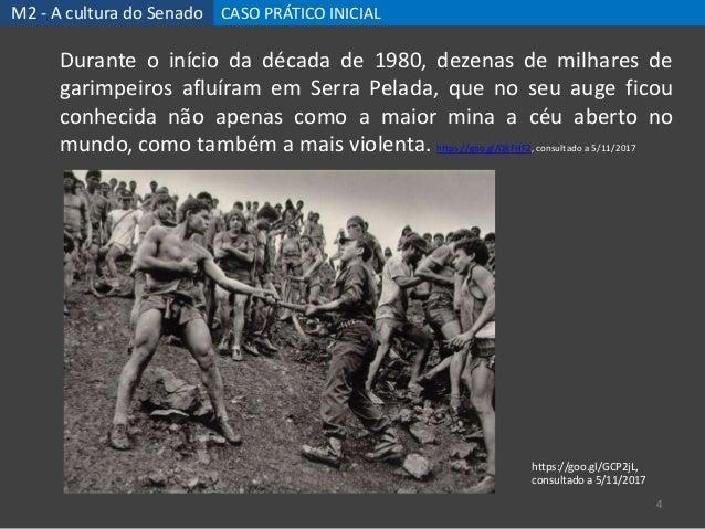 M2 - A cultura do Senado CASO PRÁTICO INICIAL 4 Durante o início da década de 1980, dezenas de milhares de garimpeiros afl...