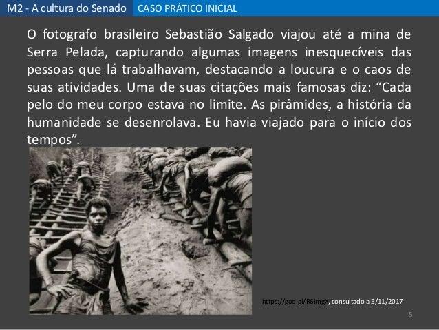 M2 - A cultura do Senado CASO PRÁTICO INICIAL 5 O fotografo brasileiro Sebastião Salgado viajou até a mina de Serra Pelada...