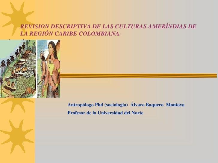 REVISION DESCRIPTIVA DE LAS CULTURAS AMERÍNDIAS DELA REGIÓN CARIBE COLOMBIANA.             Antropólogo Phd (sociología) Ál...