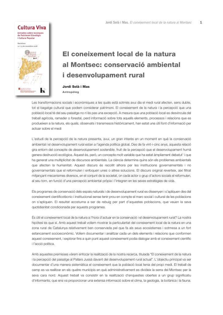 Jordi Solà i Mas. El coneixement local de la natura al Montsec   1Cultura VivaJornades sobre recerquesde Patrimoni Etnològ...