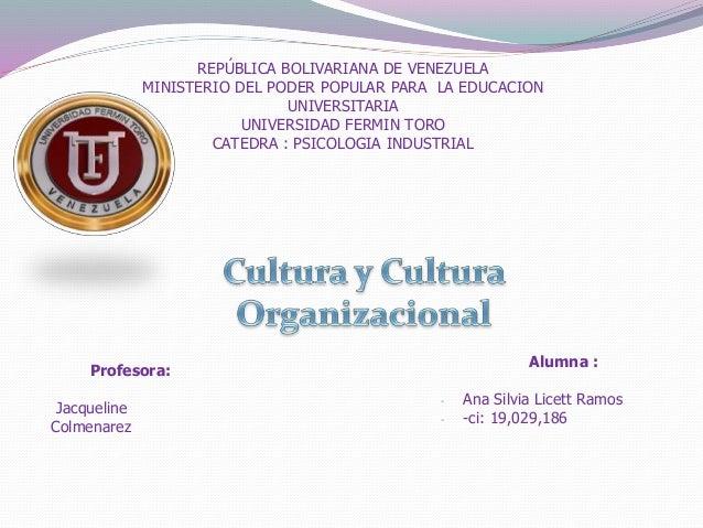 REPÚBLICA BOLIVARIANA DE VENEZUELA MINISTERIO DEL PODER POPULAR PARA LA EDUCACION UNIVERSITARIA UNIVERSIDAD FERMIN TORO CA...