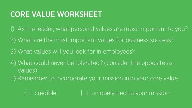 CORE VALUE WORKSHEET 1 As – Core Values Worksheet