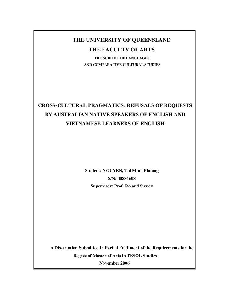 THE UNIVERSITY OF QUEENSLAND                      THE FACULTY OF ARTS                         THE SCHOOL OF LANGUAGES     ...