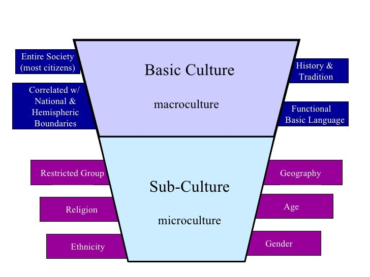sub cultures within the latino culture in Subculture: the example of bonnaroo as such, within the larger culture, subcultures exist subcultures are smaller groups of people with unique-to-them beliefs, values, traditions since culture and subculture have blurry boundaries at times.