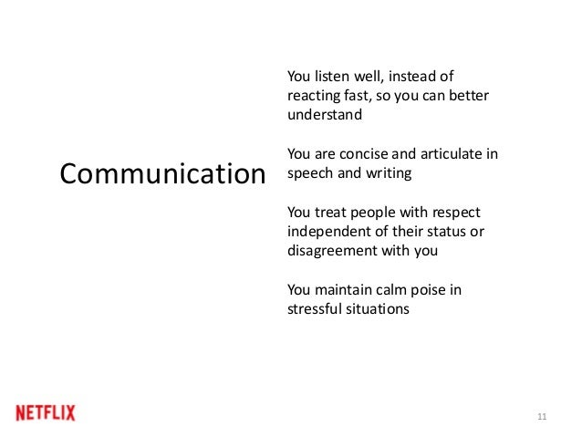 11 Communication You listen well, instead of reacting fast, so you can better understand You are concise and articulate in...