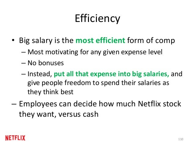 Efficiency • Big salary is the most efficient form of comp – Most motivating for any given expense level – No bonuses – In...