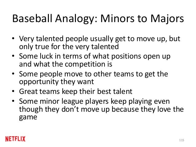 Baseball Analogy: Minors to Majors • Very talented people usually get to move up, but only true for the very talented • So...