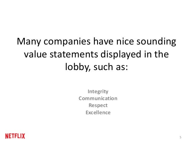 Many companies have nice sounding value statements displayed in the lobby, such as: 5 Integrity Communication Respect Exce...