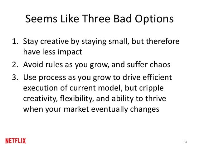 Seems Like Three Bad Options 1. Stay creative by staying small, but therefore have less impact 2. Avoid rules as you grow,...