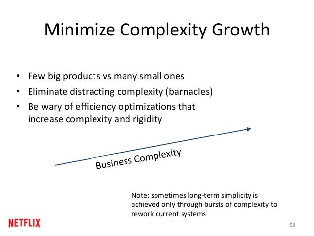 Minimize Complexity Growth • Few big products vs many small ones • Eliminate distracting complexity (barnacles) • Be wary ...