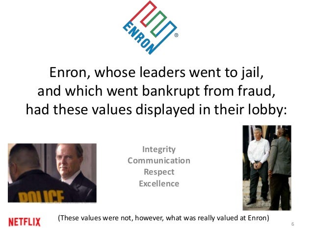 Enron, whose leaders went to jail, and which went bankrupt from fraud, had these values displayed in their lobby: Integrit...