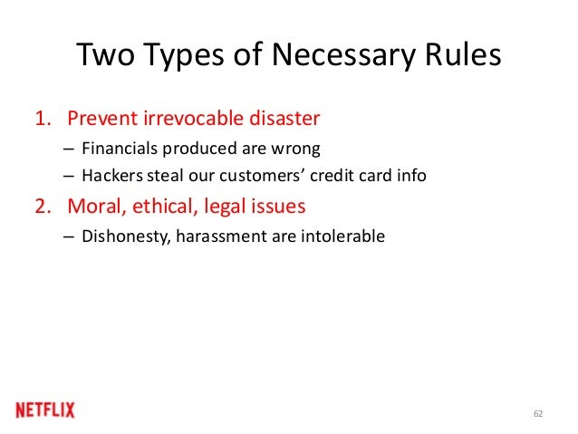 Two Types of Necessary Rules 1. Prevent irrevocable disaster – Financials produced are wrong – Hackers steal our customers...