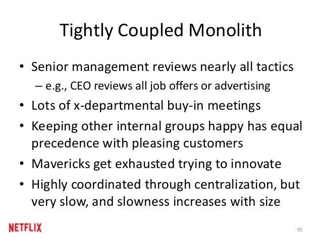 Tightly Coupled Monolith • Senior management reviews nearly all tactics – e.g., CEO reviews all job offers or advertising ...