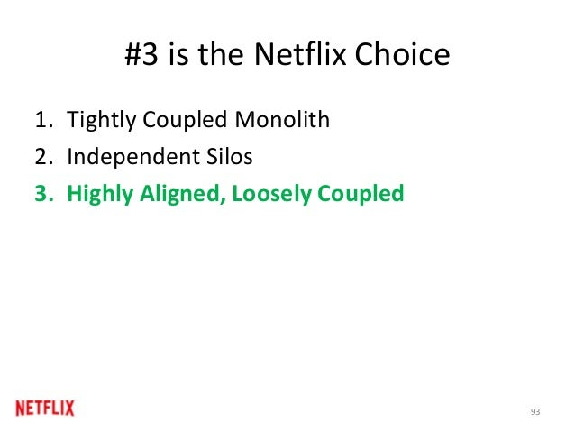 #3 is the Netflix Choice 1. Tightly Coupled Monolith 2. Independent Silos 3. Highly Aligned, Loosely Coupled 93