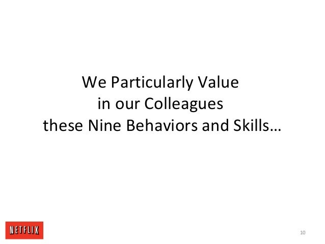 We Particularly Value in our Colleagues these Nine Behaviors and Skills… 10