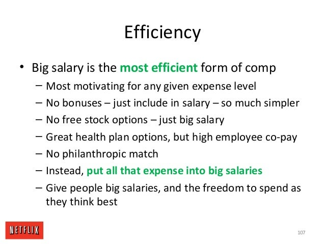 Efficiency • Big salary is the most efficient form of comp – Most motivating for any given expense level – No bonuses – ju...