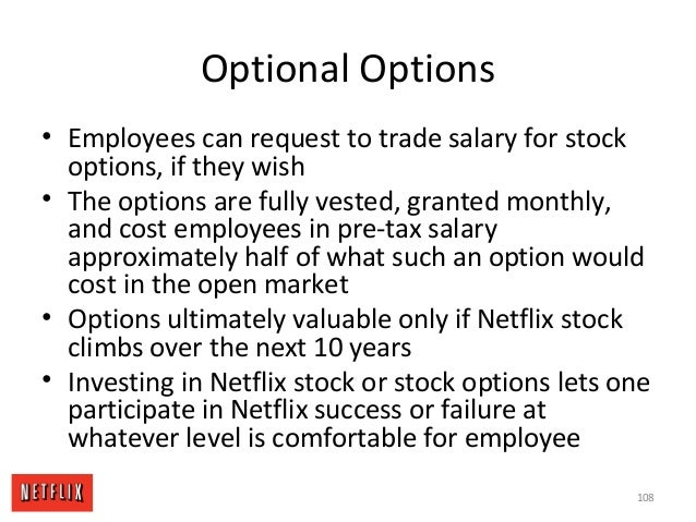Optional Options • Employees can request to trade salary for stock options, if they wish • The options are fully vested, g...
