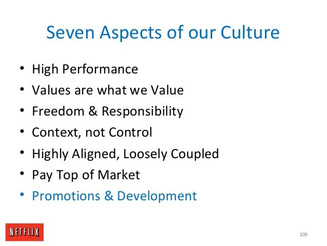 Seven Aspects of our Culture • High Performance • Values are what we Value • Freedom & Responsibility • Context, not Contr...