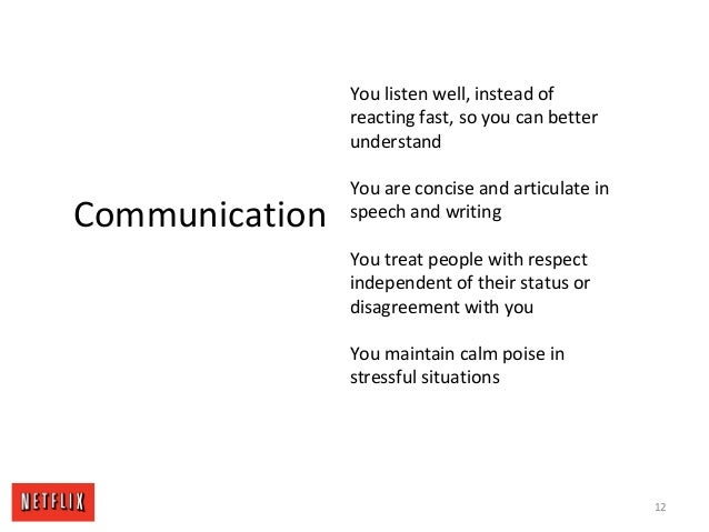12 Communication You listen well, instead of reacting fast, so you can better understand You are concise and articulate in...