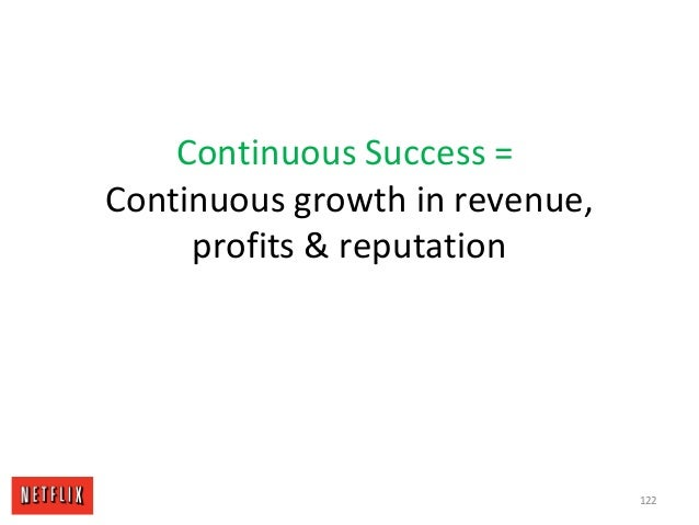 Continuous Success = Continuous growth in revenue, profits & reputation 122