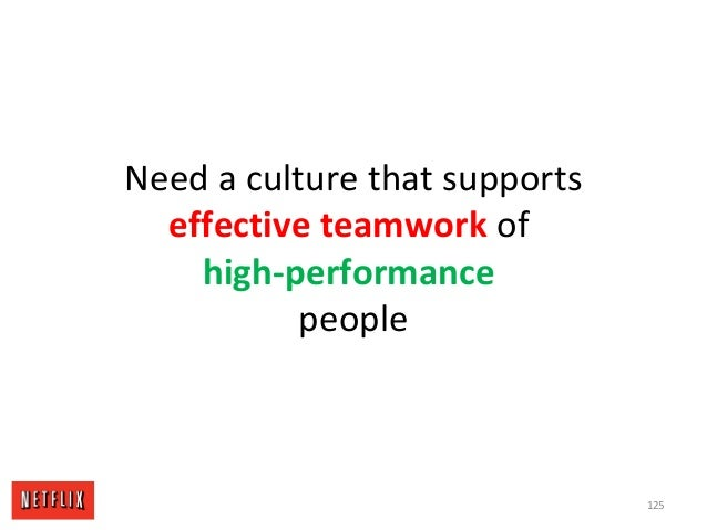 Need a culture that supports effective teamwork of high-performance people 125