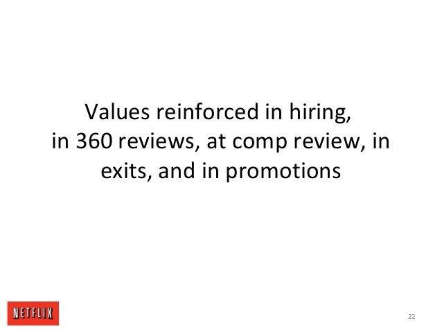 Values reinforced in hiring, in 360 reviews, at comp review, in exits, and in promotions 22